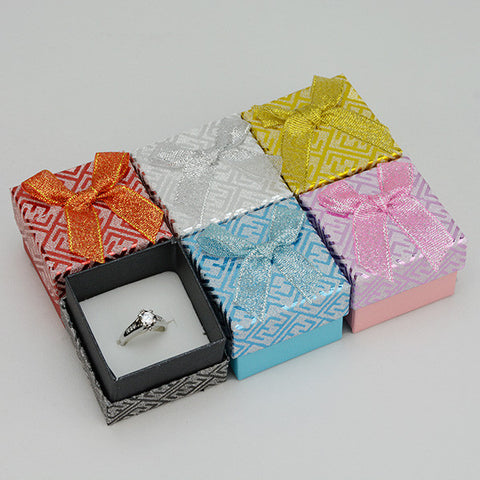 jewelry ring boxes with bow pk/24 - JewelryPackagingBox.com