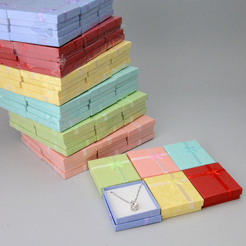 Multi color Pendant Box with Bow - JewelryPackagingBox.com