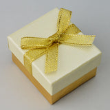 Ring Box Gold/Cream with Gold Bow - JewelryPackagingBox.com