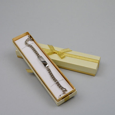 Bracelet Box Cream/Gold with Gold Bow - JewelryPackagingBox.com