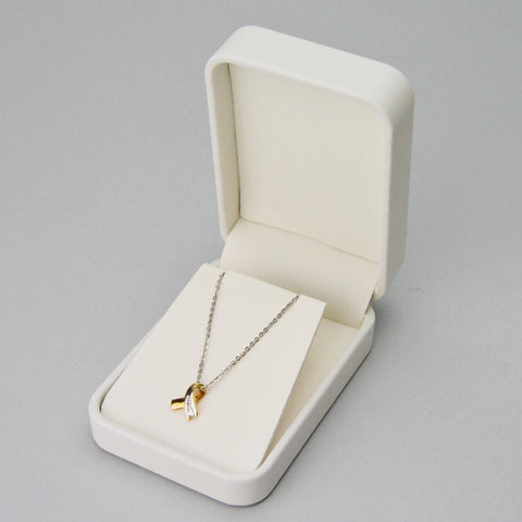 Pendant Box in White Leatherette - JewelryPackagingBox.com