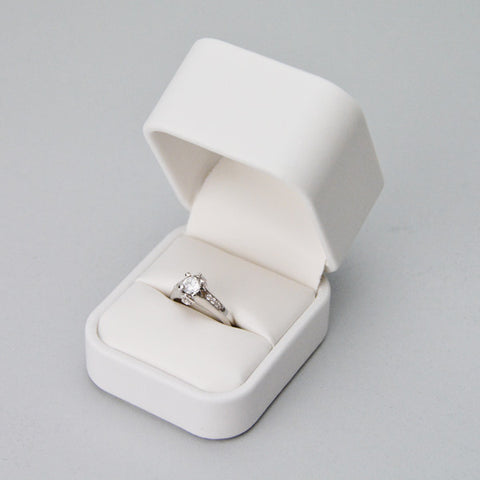 White leatherette high dome ring box - JewelryPackagingBox.com