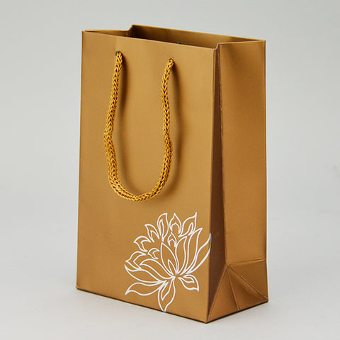 GOLD TOTE BAG with FLOWER