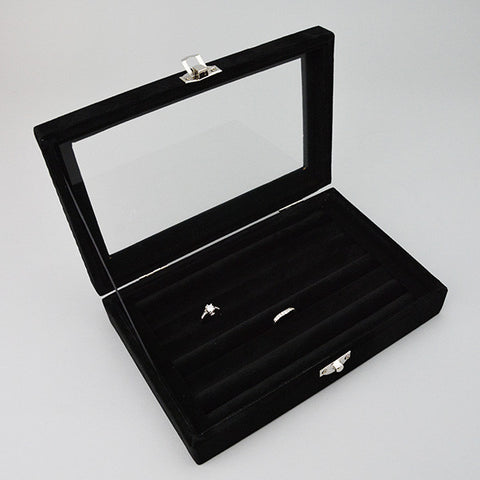 Glass Top Ring Case - JewelryPackagingBox.com