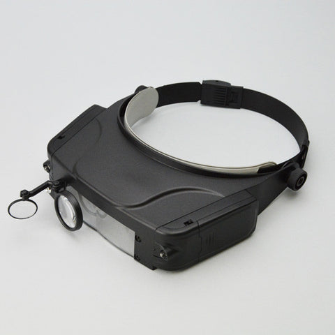 Headset magnifier with 3 lens and 2 LED lights