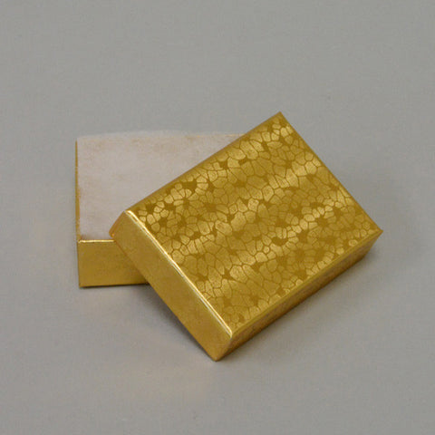 "Gold Cotton Filled Box 2"" x 1 1/2"" pack of 12 - JewelryPackagingBox.com"