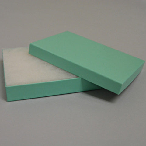 "Teal Blue Cotton Filled Box 5 1/4"" X 3 3/4"" pack of 12 - JewelryPackagingBox.com"