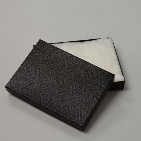 "Black Cotton Filled Box 5 1/4"" x 3 3/4"" Pack of 12 - JewelryPackagingBox.com"