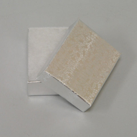 "Silver Cotton Filled Box 2"" x 1 1/2"" pack of 100 - JewelryPackagingBox.com"