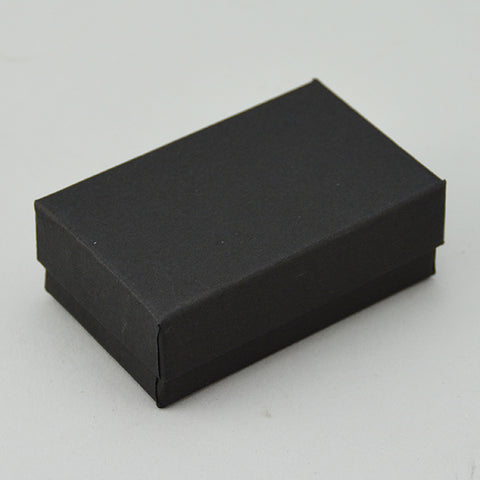 "Matte black Cotton Filled Box 2"" x 1 1/2"" pack of 100 - JewelryPackagingBox.com"