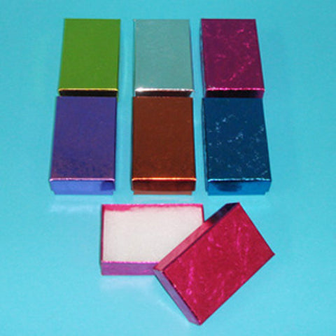 "Assorted Colors Cotton Filled Box 2 1/2"" x 1 1/2"" Pack of 100 - JewelryPackagingBox.com"