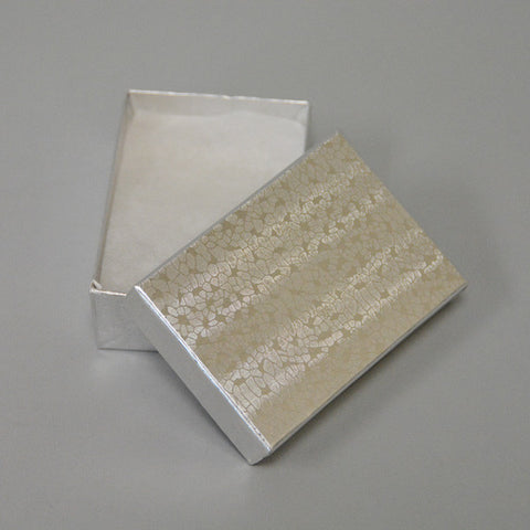 "Silver Cotton Filled Box 2 1/2"" x 1 1/2"" pack of 100 - JewelryPackagingBox.com"