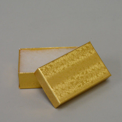 "Gold Cotton Filled Box 2 1/2"" x 1 1/2"" pack of 100 - JewelryPackagingBox.com"