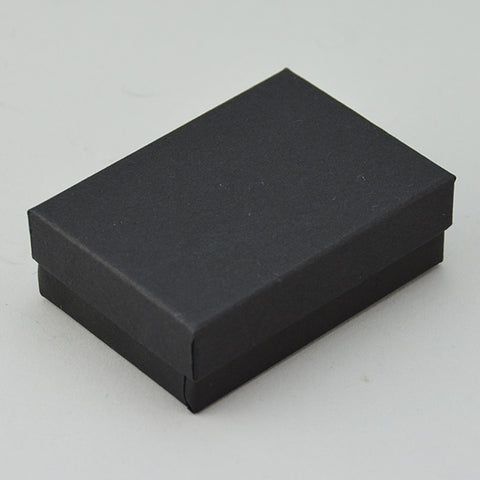"Matte Black Cotton Filled Box 3 1/8"" x 2 1/8"" Pack of 100 - JewelryPackagingBox.com"