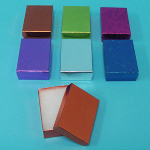 "Assorted Colors Cotton Filled Box 3 1/8"" x 2 1/8"" Pack of 100 - JewelryPackagingBox.com"