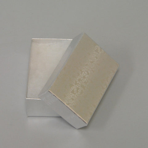 "Silver Cotton Filled Box 3 1/8"" x 2 1/8"" pack of 100 - JewelryPackagingBox.com"