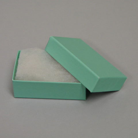 "Teal Blue Cotton Filled Box 3 1/8"" x 2 1/8"" pack of 100 - JewelryPackagingBox.com"