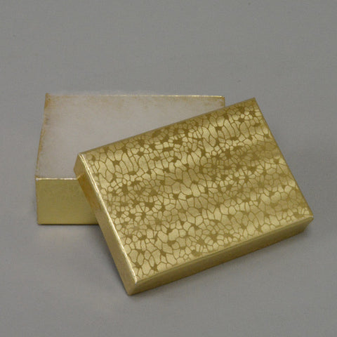 "Gold Cotton Filled Box 3 1/8"" x 2 1/8"" pack of 100 - JewelryPackagingBox.com"