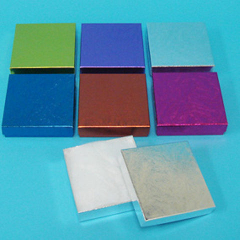 "Assorted Colors Cotton Filled Box 3 1/2"" x 3 1/2""Pack of 100 - JewelryPackagingBox.com"
