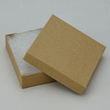 "Recycled Kraft Cotton Filled Box 3 1/2"" x 3 1/2"" Pack of 100 - JewelryPackagingBox.com"