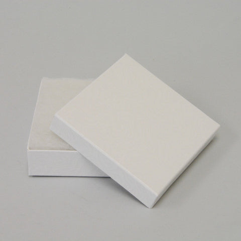 "White Cotton Filled Box 3 1/2"" x 3 1/2"" pack of 100 - JewelryPackagingBox.com"