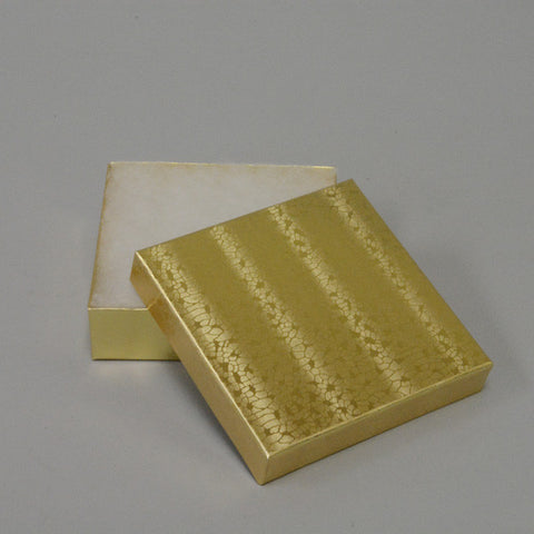 "Gold Cotton Filled Box 3 1/2"" x 3 1/2"" pack of 100 - JewelryPackagingBox.com"