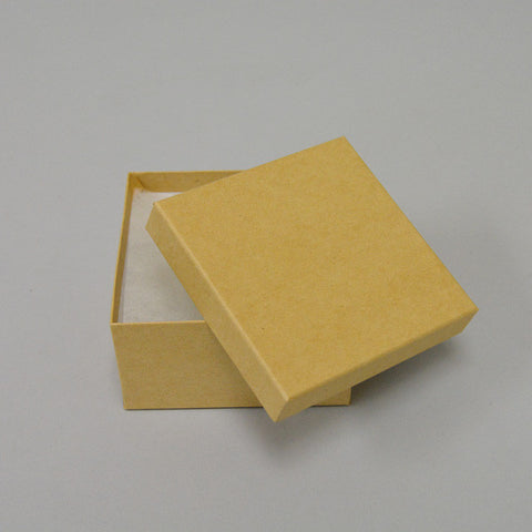 "Kraft Cotton Filled Box 3 1/2"" x 3 1/2"" x 2"" Pack of 100 - JewelryPackagingBox.com"