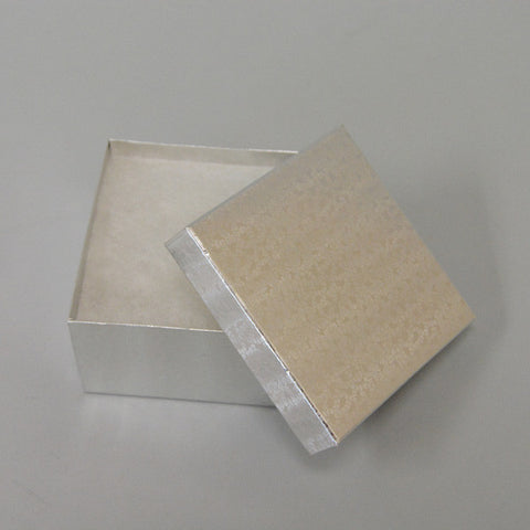 "Silver Cotton Filled Box 3 1/2"" x 3 1/2"" x 2"" Pack of 100 - JewelryPackagingBox.com"