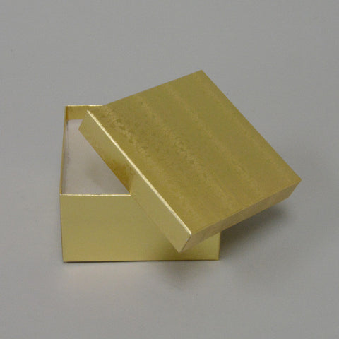 "Gold Cotton Filled Box 3 1/2"" x 3 1/2"" x 2"" pack of 100 - JewelryPackagingBox.com"