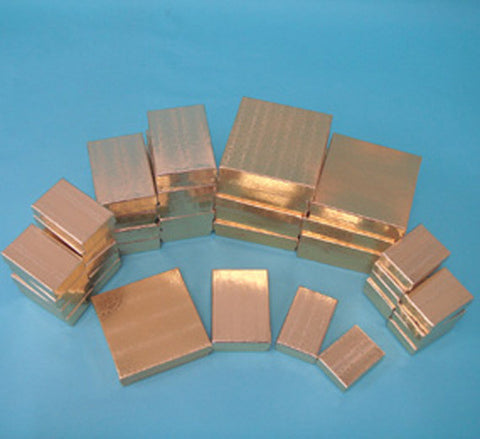 Assorted Sizes Gold Boxes Pack of 40 - JewelryPackagingBox.com