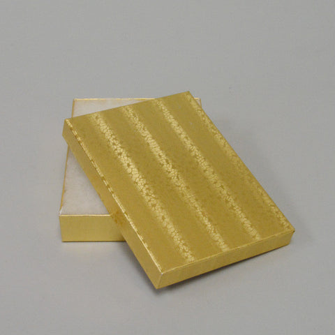 "Gold Cotton Filled Box 5 1/4"" x 3 3/4"" pack of 100 - JewelryPackagingBox.com"