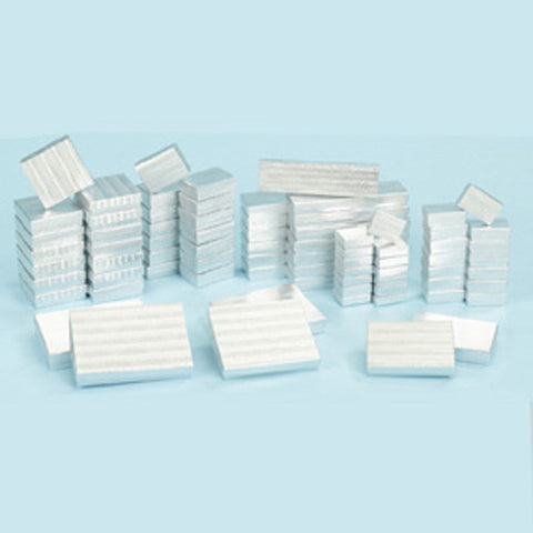 Assorted Size Silver Boxes Pack of 72 - JewelryPackagingBox.com