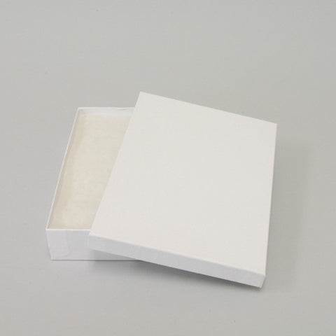 "White Cotton Filled Box 7"" x 5"" x Pack of 100 - JewelryPackagingBox.com"