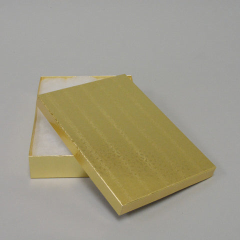 "Gold Cotton Filled Box 7"" x 5"" x Pack of 100 - JewelryPackagingBox.com"
