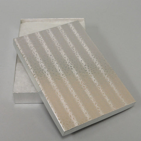 "Silver Cotton Filled Jewelry Boxes 8"" X 5 1/2"" - JewelryPackagingBox.com"