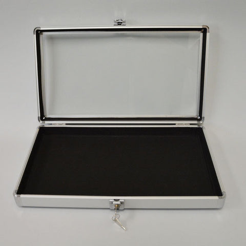 Aluminum Glass Top Case - JewelryPackagingBox.com