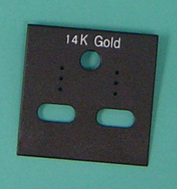 PLASTIC CARD HANGIGNG 14K GOLD BLACK 100/pk - JewelryPackagingBox.com