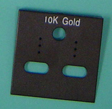 PLASTIC CARD HANGIGNG 10K GOLD BLK. 100/pk *disct.* - JewelryPackagingBox.com