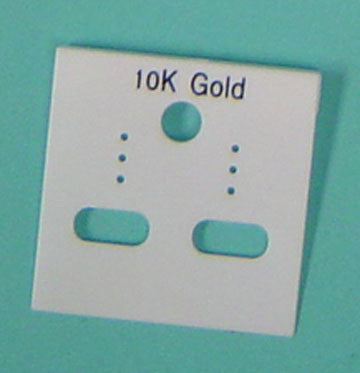 PLASTIC CARD HANGIGNG 10K GOLD WHITE 100/pk *disct.* - JewelryPackagingBox.com
