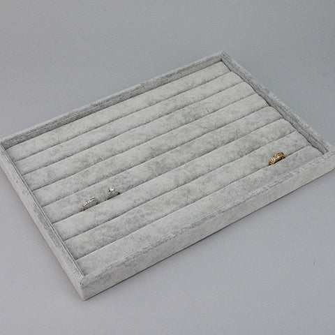 Ring Tray in Grey Velvet - JewelryPackagingBox.com