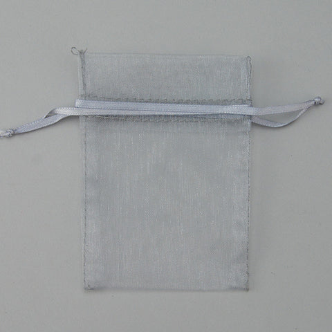 "Silver Organza Bag 2 3/4"" X 3 1/2"" 100/PK - JewelryPackagingBox.com"