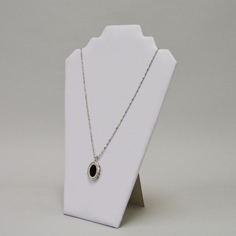 White leatherette necklace display - JewelryPackagingBox.com