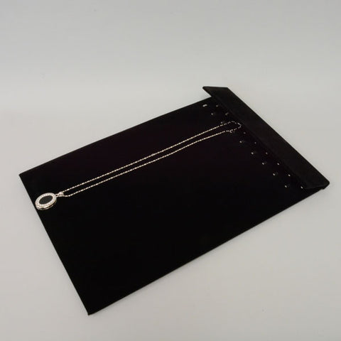 "NECKLACE PAD W/HOOKS BLK 9.5"" X 14""H - JewelryPackagingBox.com"