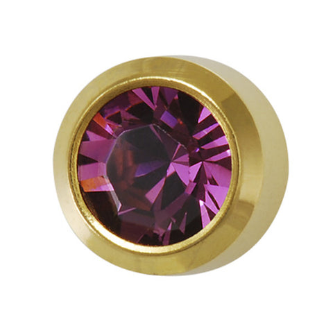 Medium February Birthstone Gold Plated