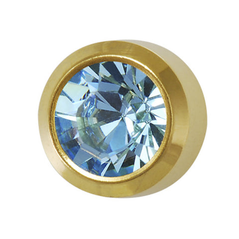 Medium March Birthstone Gold Plated - JewelryPackagingBox.com