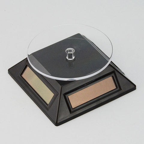 Solar powered turn table in black. - JewelryPackagingBox.com