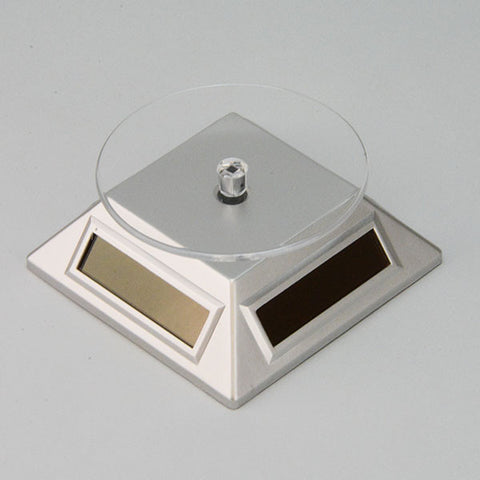 Solar powered turn table in Silver - JewelryPackagingBox.com