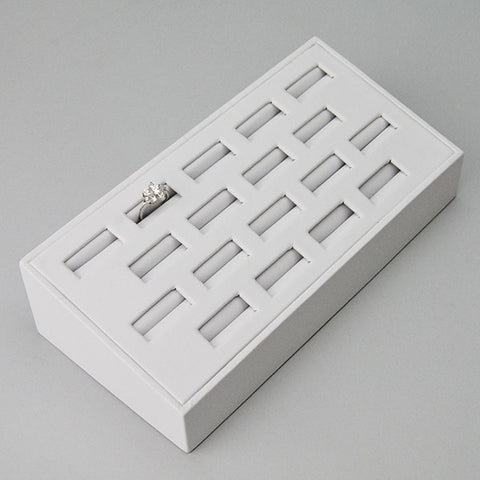 SLANTED WHITE LEATHRETTE RING TRAY 18 RINGS - JewelryPackagingBox.com