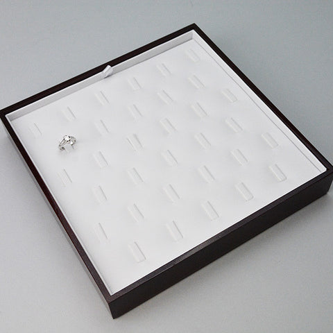 Deluxe Wood Ring Tray - JewelryPackagingBox.com