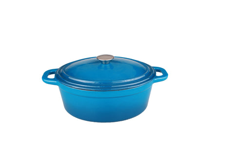 Neo 8qt Cast Iron Oval Covered Casserole Blue